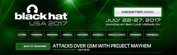 Attacks over GSM with Project Mayhem at Black Hat