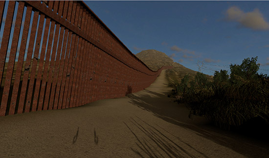 A visual representation of The Wall in VR