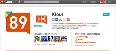 Klout social media Score