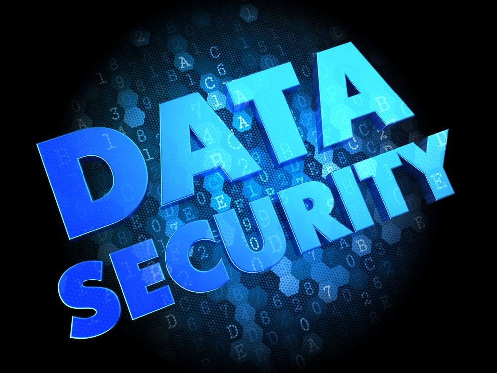Data Security - Blue Color Text on Dark Digital Background.